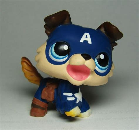 pet shop puppies collie captain america ooak painted custom littlest pet shop lps