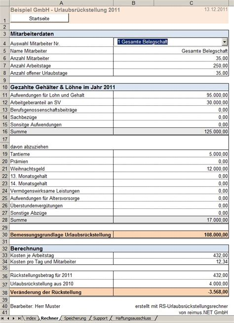 excel vorlage zur berechnung von urlaubsrueckstellungen