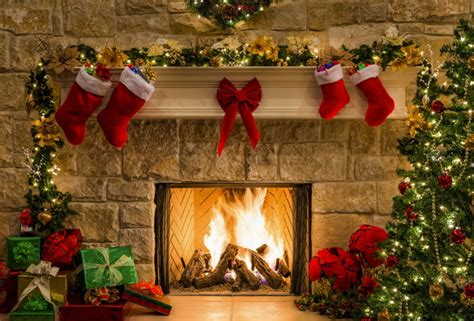 wallpaper christmas new year gift fireplace fire