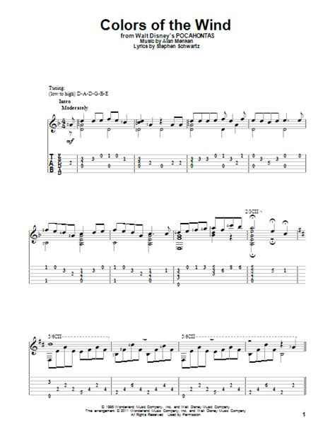 colors of the wind chords colors of the wind sheet williams guitar tab