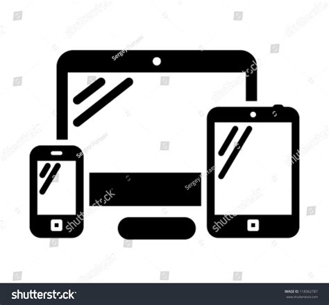 mobile phone desktop mobile phone desktop computer tablet pc stock vector