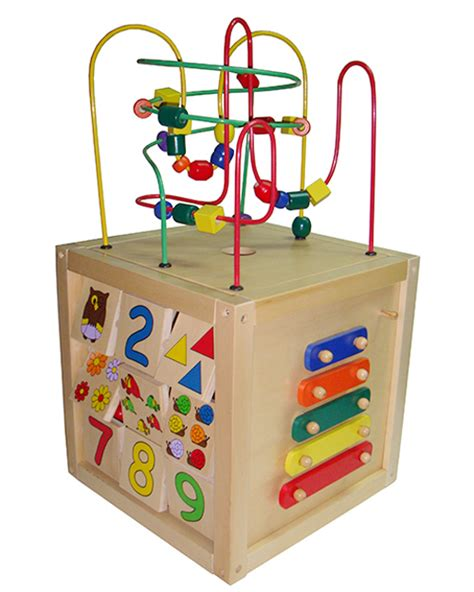 bead maze cube educational multi functional 5 in 1 wooden zoo