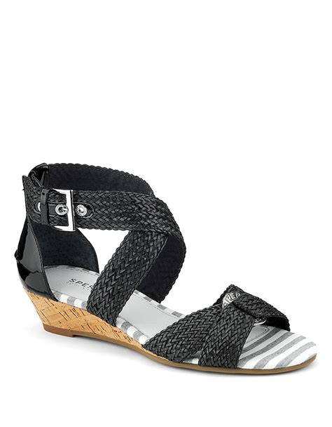 sperry wedge sandal sperry top sider alvina woven leather wedge sandals in