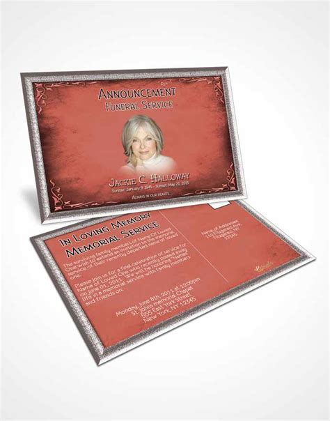 dye funeral memorial card template announcement card template heavens touch soft ruby
