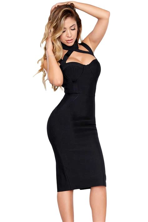 Hollow Out Dress black high neck hollow out bandage dress charming wear
