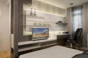 Wardrobes Designs Of Late Modern Wall Tv Unit In Master Bedroom Designs