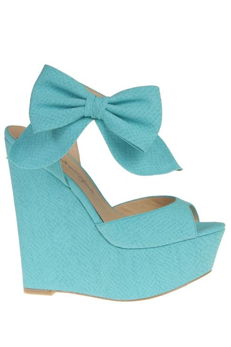 turquoise bow wedges kenny shoes shoes