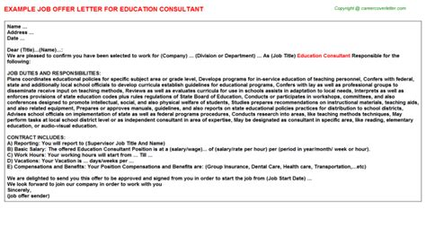education consultant cover letter risk consultant offer letters