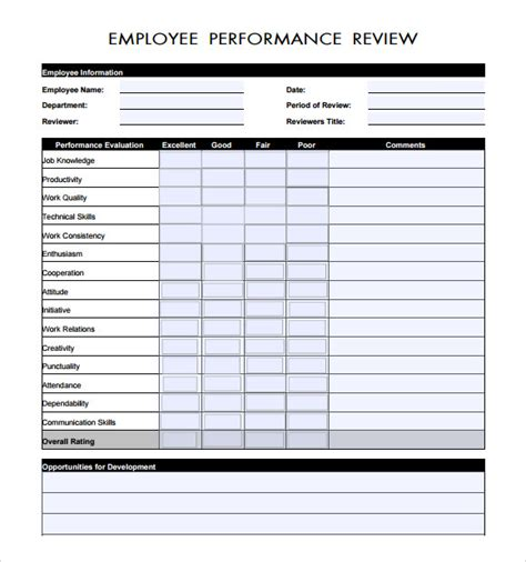 Manager Evaluation 9 Free Sles Exles Format Employee Documentation Template