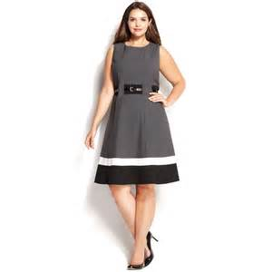 Dress Barn Plus Sizes Calvin Klein Plus Size Colorblock Belted Dress In Black