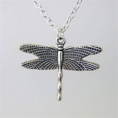 Handmade Silver Necklace Uk - silver chain handmade dragonfly pendant necklace ljh