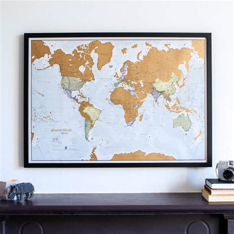 Scratch World Wall Map scratch the world framed by maps international