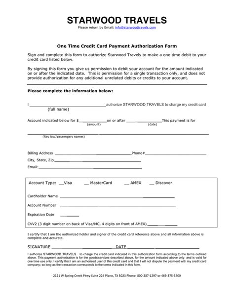 credit card billing authorization form template one time credit card payment authorization form in word and pdf formats