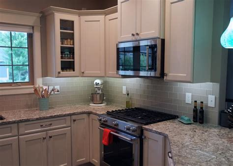 country cottage light taupe  glass subway tiles rocky