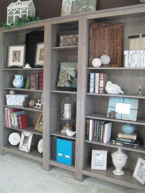 ikea hemnes bookshelves in grey brown dining room turned
