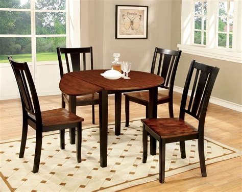 round dining room sets with leaf dover ii black and cherry drop leaf round dining room set