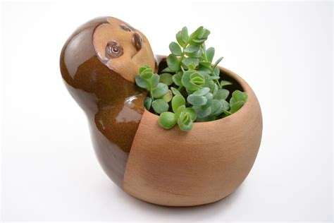 animal planters cute sloth planter ceramic planter animal planter by