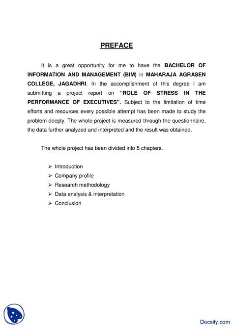 sle preface of a project report preface sle 4 business and writing reports handout