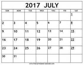 Printable July 2017 Calendar Printable 2017 July Calendar