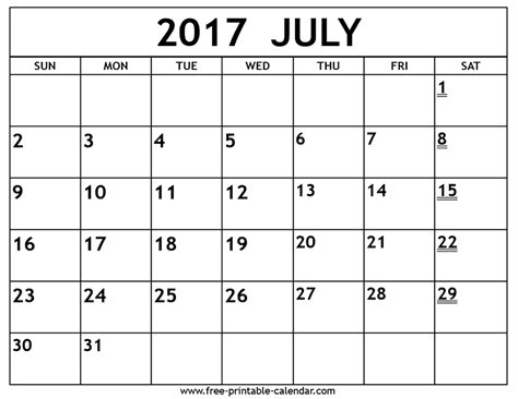 Calendar 2017 July To December Printable 2017 July Calendar