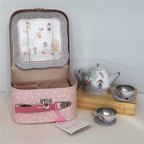 and unicorn tea set in carry by posh totty