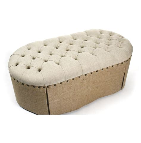 skirted ottoman french country round oval tufted linen burlap skirted