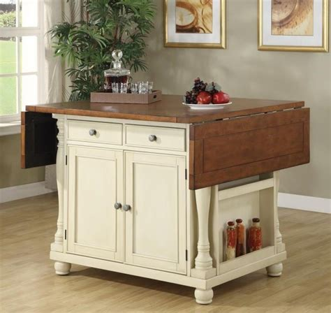 buttermilk cherry kitchen island with drop leaves 102271 white buttermilk cherry kitchen island 102271 from coaster