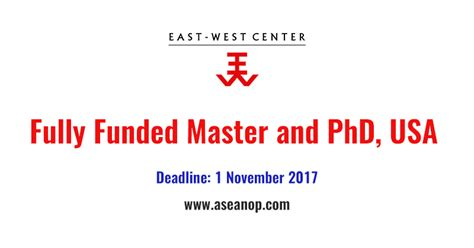 East West Mba Admission Fall 2017 by East West Center Master Degree And Phd Fellowship In Usa
