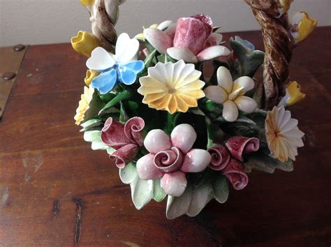 Handcrafted Flowers - handmade ceramic flower basket with intricate ceramic