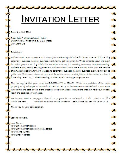 email invitation letter template invitation letter template free business templates