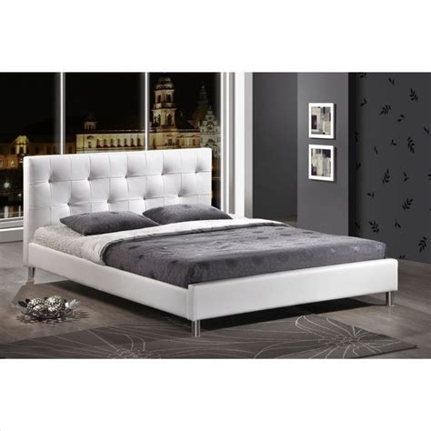 Tufted Headboard Bed Modern Tufted Faux Leather Platform Bed Frame Headboard Upholstered White Ebay