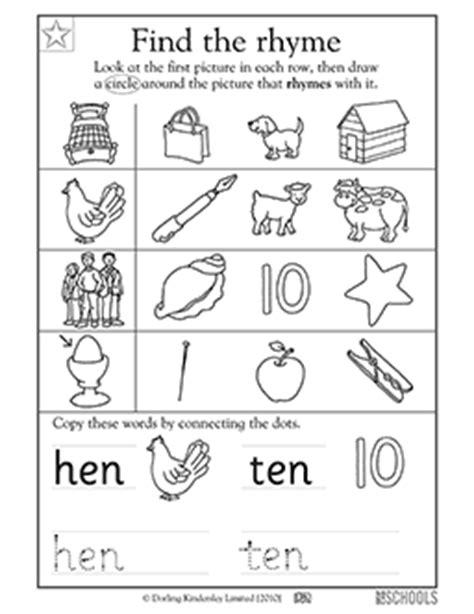 printable preschool rhyming worksheets kindergarten preschool reading writing worksheets