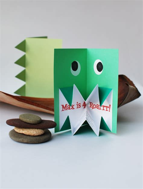 Pop Up Paper Crafts - make amazing pop up origami dinosaur invitations