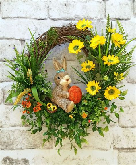 spring wreath ideas spring wreath bunny wreath front door wreath silk