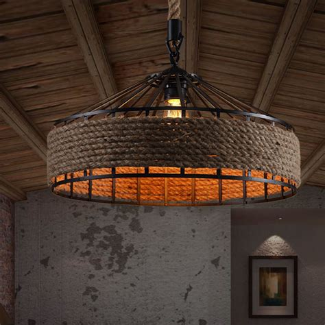 Industrial Look Lighting Fixtures Country Rope Drum Shape Industrial Style Light Fixtures