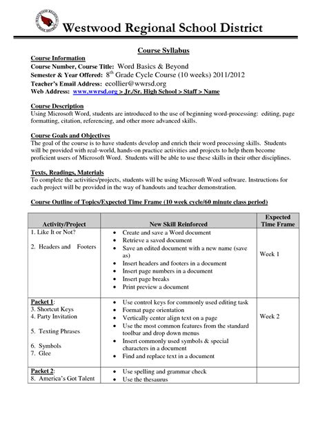 class syllabus template high school syllabus exle syllabus college comp