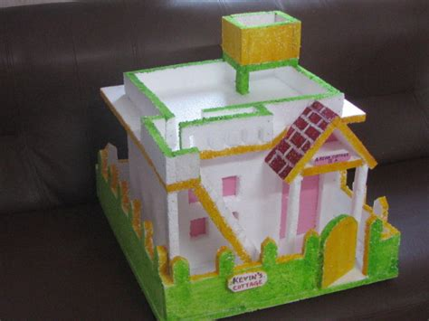 how to make thermocol bungalow house model school project thermocol house with flat roof model 3 craft works