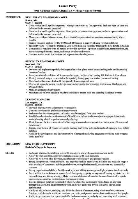 leasing manager resume resume template