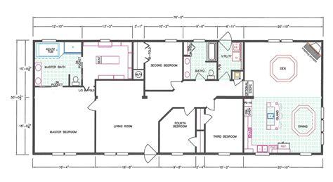 4 bedroom floor plan f 1001 hawks homes manufactured 4 bedroom floor plan f 663 hawks homes manufactured