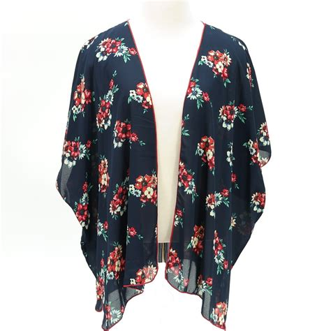 Floral Print Cardigan floral print kimono chiffon cardigan navy