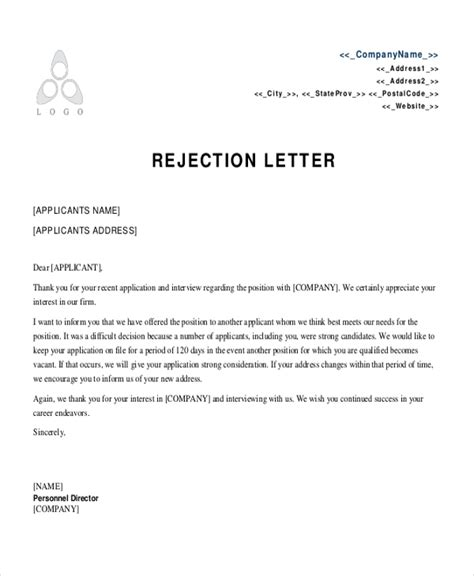 Employment Rejection Letter Sle
