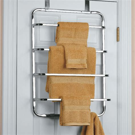 bathroom door towel racks four tier over the door towel rack chrome in over the