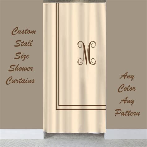 shower curtain for single stall stall size simplicity custom shower curtain with monogram in