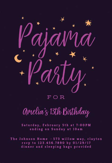 pajama party sleepover party invitation template