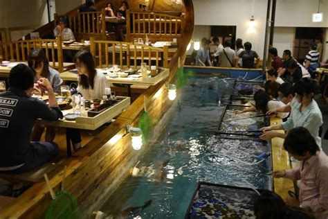 fishing boat restaurant japan japanese chain where diners fish for their dinner plans