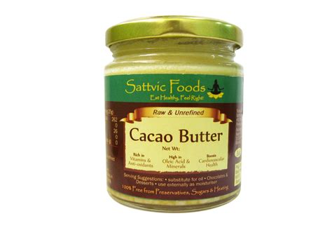 Cacao Butter 225 Gram buy cacao butter cocoa butter sattvic foods india