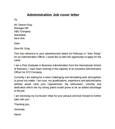 Employee Benefits Administrator Cover Letter by Applying For Administration Co