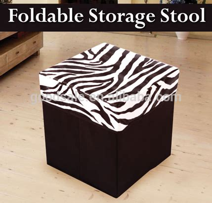 Zebra Print Ottoman Stool by Zebra Print Foldable Ottoman Pouff Leather Storage