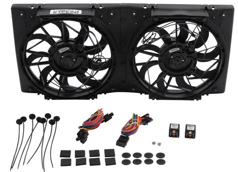 radiator and fan assembly derale high output dual radiator fan and shroud assembly