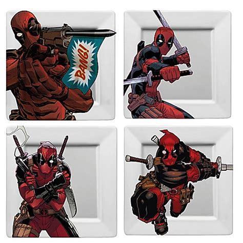 deadpool bathroom scene marvel 174 deadpool plates set of 4 bed bath beyond